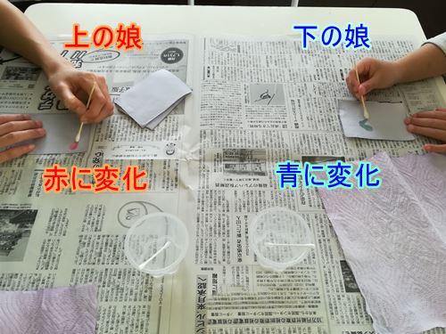 乾かした液に絵を書いている写真