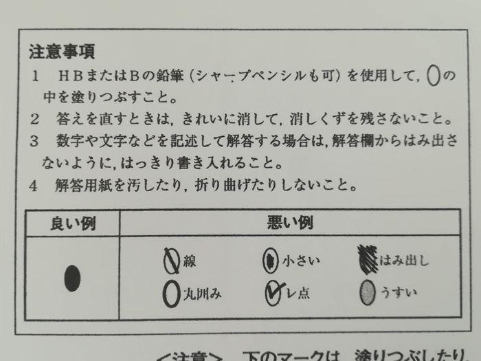 模擬試験のマークシート記述についての注意書き