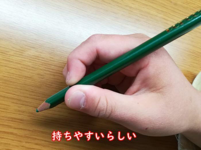 次女(幼稚園生)が色鉛筆を持った写真